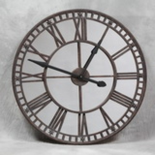 Large Antiqued Clock with Mirror Face