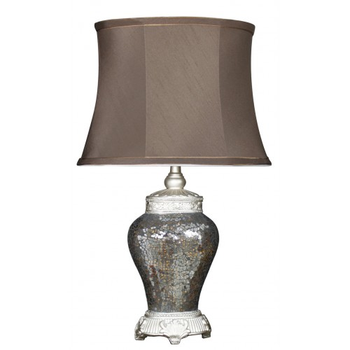 Bronze Mosaic Antique Lamp with Chocolate Shade